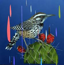 new paintings of birds set against colorful glitches by frank