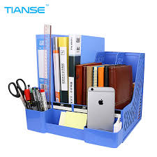 Small Desk Organizer Tianse Blue Document Trays Plastic File Holder With Small Cases