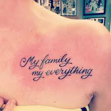 collection of 25 family word on right below collarbone