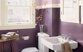 purple bathroom design with wooden bench and sliding window