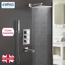 bathroom 3 dial 3 way concealed square thermostatic shower mixer