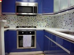 shining navy blue cabinet paint color trend and elegant white