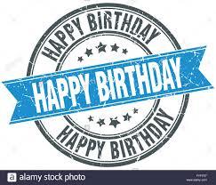 happy birthday ribbon happy birthday blue grunge vintage ribbon st stock vector