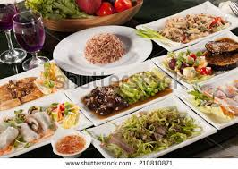 table full of food food set round table full many stock photo royalty free 210810871