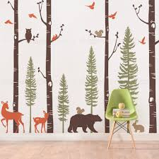 Nursery Wall Decals Animals by Birch Trees With Animals Wall Decal Decorating Pinterest