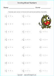 divide mixed numbers by whole numbers math fraction worksheet for