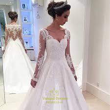 gown wedding dresses uk white lace applqiue sheer sleeve gown wedding dress