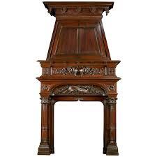 renaissance style antique walnut trumeau fireplace mantel for sale