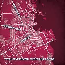 Doha Qatar Map Doha Qatar Map Art City Prints