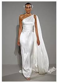simple and elegant white satin wedding dress one shoulder