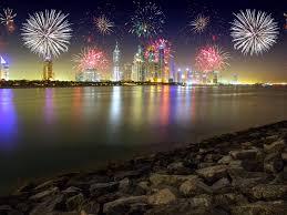 night in dubai united arab emirates stones skyscrapers merry