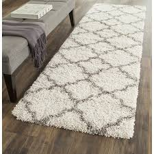Plush Runner Rugs Safavieh Hudson Shag Collection Sgh282a Ivory And Grey