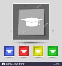 graduation cap frame graduation cap icon sign on original five colored buttons vector