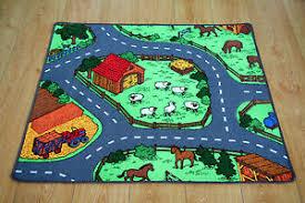 Childrens Play Rug by Farm Yard Children U0027s Rug Kid U0027s Animal Village Road Play Mat Ebay
