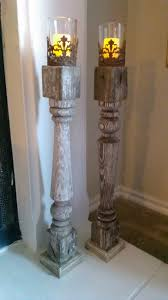 porch spindles turned into shabby chic candle sticks with the help