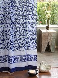 Sheer Blue Curtains Bohemian Curtain Floral Asian Saffron Marigold