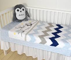Blue And Yellow Crib Bedding Chevron Crib Bedding Penguin Baby Quilt Gray Navy Blue White
