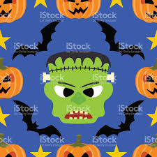 seamless halloween background seamless halloween background with frankenstein stock vector art