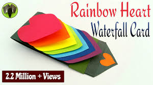 rainbow heart love waterfall card for valentine u0027s day diy