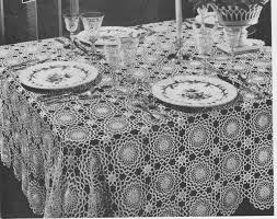 Etsy Vintage Home Decor by Vintage 1940 U0027s Flower Patterned Tablecloth Crochet Pattern Lacy