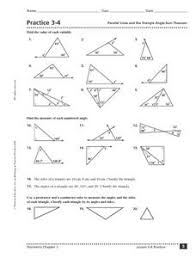 worksheet triangle sum and exterior angle theorem answers the