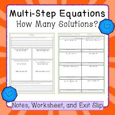 equations variables on both sides how many solutions notes and worksheet