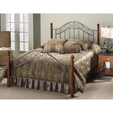 Wood And Iron Bed Frames Martino Wood And Iron Bed In Smoke Silver Cherry Humble Abode