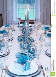 table setting blue white stock image image