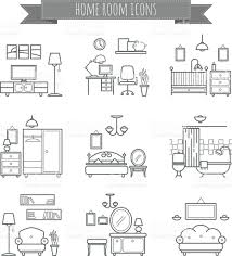 Types Of Home Interior Design Home Room Icons Interior Design Room Types Icons Stock Vector