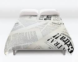 Newsprint Comforter Vintage Newspaper Duvet Cover Vintage News Duvet Headline Duvet
