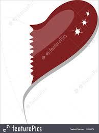 Flag Of Qatar Qatar Flag Button Heart Shape Vector