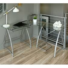 3 piece glass desk walker edison alexa l shaped glass computer desk silver with clear