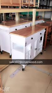 bamboo top wooden kitchen serving trolley with wheels white