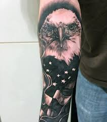 bald eagle american flag tattoo for males on forearm tattoos