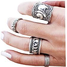 rings set images Sunscsc vintage retro silver elephant joint knuckle jpg