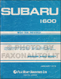1978 1984 subaru 1600 1800 bentley repair shop manual
