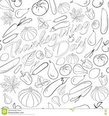 white thanksgiving autumn graphic seamless pattern with fruits and vegetables in