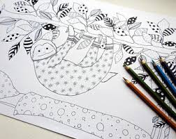 sloth coloring book etsy