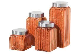 Square Kitchen Canisters 4 pc ribbed square glass canister amber on onekingslane com got
