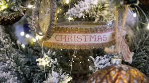 christmas ribbon with the inscription in the decoration of the