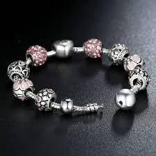 silver bracelet with crystal images Free antique silver charm bracelet bangle with love and flower jpg