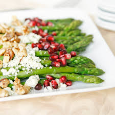 asparagus with pomegranate toasted walnuts and blue cheese