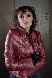women u0027s red fashionable real leather jacket trendy leather