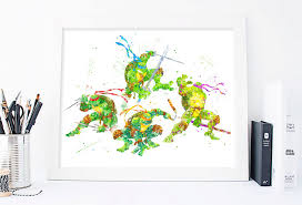 phorest studio teenage mutant ninja turtles poster watercolor