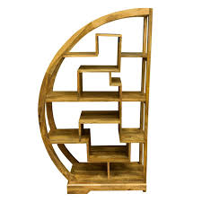 Arched Bookcase Ambala Cube Light Mango Wood Curved Display Unit Arched Display