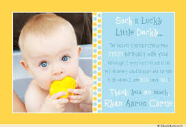 lucky ducky thank you card 1st birthday party photo