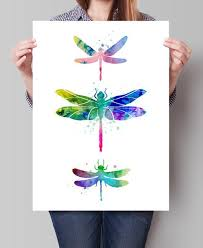 dragonfly watercolor print dragonfly art watercolor painting