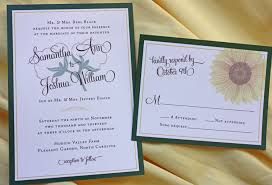 Sunflower Wedding Invitations Green Yellow U0026 Brown Cotton Boll And Sunflower Wedding