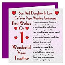 Wedding Verses Son U0026 Daughter In Law 1st Wedding Anniversary Card On Your Paper