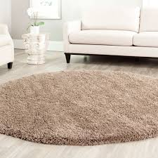 Round Kitchen Rug by Soft Taupe Shag Rug California Shag Collection Safavieh